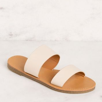 Katida Cream Slide On Sandals
