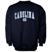 North Carolina Tar Heels (UNC) Mascot One Crew Sweatshirt - Navy Blue