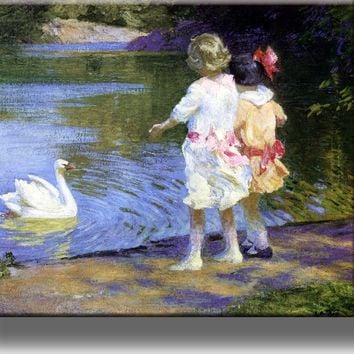 Children by the Swan Pond Picture on Stretched Canvas, Wall Art Décor, Ready to Hang!