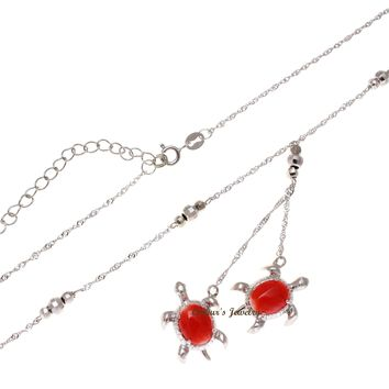 GENUINE RED CORAL HAWAIIAN SEA TURTLE LARIAT NECKLACE 925 STERLING SILVER 18""