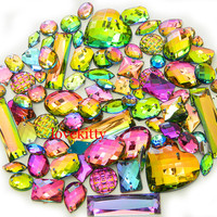 50 pcs lot --- Sew-On Gems / Beads --- AB Colors Mixed Shapes Flat Back Gems -- ( Mixed size 6mm - 40mm has thread holes )