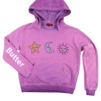 Butter Kids Oil Wash Star Moon Sun Pullover Hoody - Purple