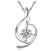 Heart White Zircon Sterling Silver Pendant & women's necklaces