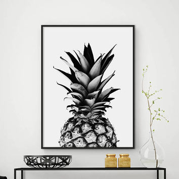 Sale!!! Pineapple Print, Black and White Pineapple, Tropical Art, Kitchen Art, Pineapple Wall Decor, Fruit Print, 50x70 Print