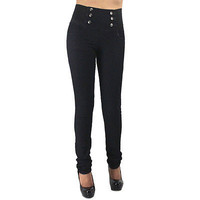 New Black High Waist Elastic Band 6 Buttons Skinny Jeans Pants Size 1 RF0274