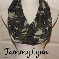 Green Brown Camo LONG Jersey Knit Cotton Infinity Scarf Camouflage Fashion Infinity Scarf Hunting Duck Dynasty  Women's Accessories