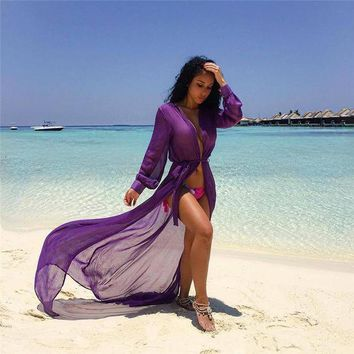 DKLW8 Women Beach Dress Cover Up Kaftan Chiffon Sarong Summer Wear Swim Bikini Summer
