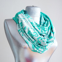 Handmade Turquoise Green  Infinity Scarf - Summer Scarf  - Cotton Jersey