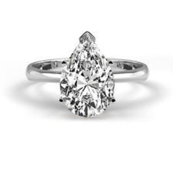 A Perfect 2.2CT Pear Cut Solitaire Russian Lab Diamond Promise Engagement Anniversary Wedding Ring