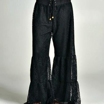 Black Floral Lace-Overlay Tiered Palazzo Pants