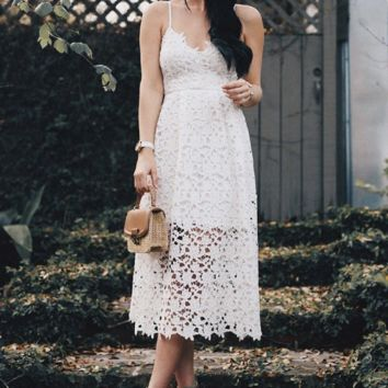 Summer fashion new women's solid color lace sleeveless dress
