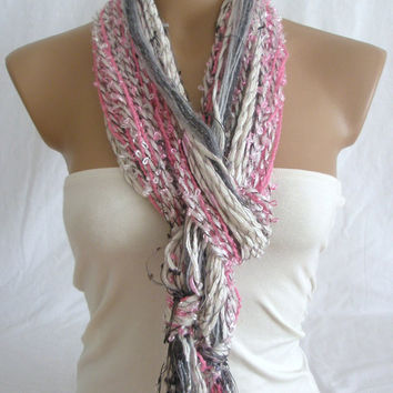 Fringe Scarf Knotted Scarf Harmony of Pink, White and Gray