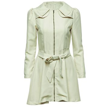 Fashionable Turn-Down Collar Long Sleeve Patchwork Bowknot Belt Zipper Women's Trench Coat