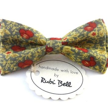Bow Tie - wedding bow tie - grey bow tie with yewwlow and red pattern - man bow tie - men bow tie - gifts for him