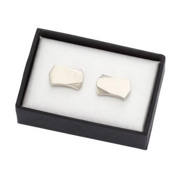 MG Gifts - Metal Cufflinks W/A Pair (Nickel Color/Brush Finishing) In Black Card Board Box