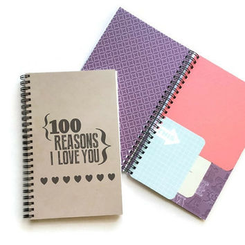 100 Reasons I love you, mixed media journal scrapbook cards, memory book diary, daily jotter, personal journal, cardstock pattern paper