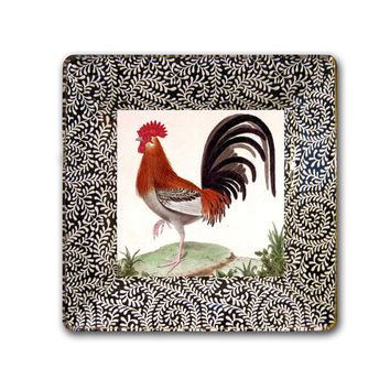 Rooster / Decorative Art  / Kitchen Decor / Custom Art  / Rooster Art / Fall Decor / Gift Idea / Decoupage Plate / Wall Hanging / chicken