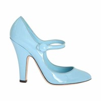 Dolce & Gabbana Blue Heels Mary Janes Leather Pumps