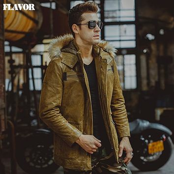 Men's yellow hooded fur hat real leather jacket Genuine Leather jacket winter warm coat