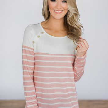 Beautiful in Buttons Striped Top ~ Pink