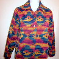 Vintage Southwestern Jacket  Womens Colorful Chenille Carpet Jacket 8 Petite Tribal Aztec Jacket