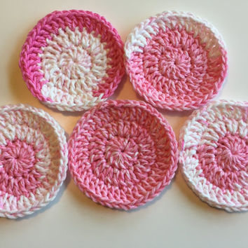 Crocheted Face Scrubbies - Pink, White, Cotton, Multi-Colored, Eco-Friendly, Handmade