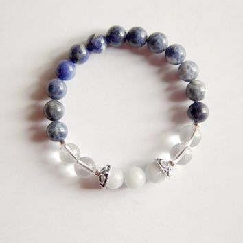 The Third Eye Chakra - Genuine Sodalite, Crystal Quartz & Blue Calcite Sterling Silver Bracelet