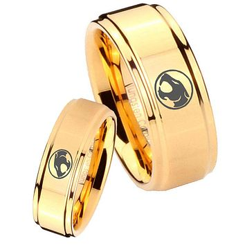 His Her Glossy Step Edges Thundercats 14K Gold IP Tungsten Wedding Rings Set