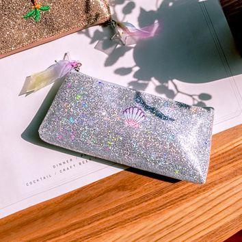 Creative Psychedelic Shell Design Bling Bling Pencil Bag Golden Silver Pureple Red 2017 School Office Supplies Fashion Gift