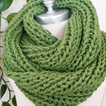Green Scarf, Knit Infinity Scarf, Spring Green, Loop Scarf, Mobius Circle Scarf, Winter Scarf, Bright Colors, Great Gift Idea