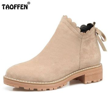 TAOFFEN Size 33-43 Ladies Low Heel Ankle Boots Women Round Toe Bowtie Solid Color Winter Shoes Women Leisure Daily Footwears