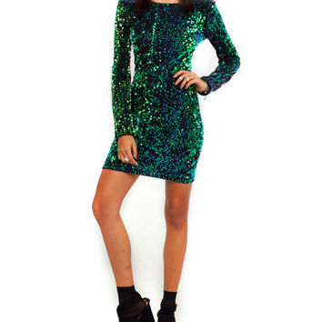 Sequined Back Deep-V Long Sleeve Bodycon Mini Dress