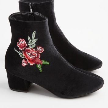 Black Velvet Floral Embroidered Bootie