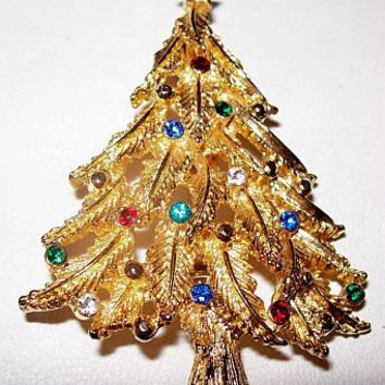"""Christmas Tree Rhinestone Brooch Pin Multi Color Gold Metal Star Topper 2 1/4"""" Holiday Vintage"""