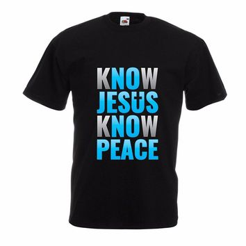 Mens T-Shirt Summer O Neck Cotton Know Jesus Know Peace! Christian clothing Jesus saves t shirt
