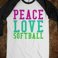 Supermarket: Peace Love Softball T-Shirt from Glamfoxx Shirts