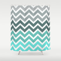 Tiffany Fade Chevron Pattern Shower Curtain by RexLambo
