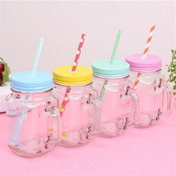 15oz juice water jar bottle Double Wall Insulated Mason Jar Tumbler Mug with Stainless Steel Lid