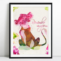 Watercolor Disney The Lion King, The Lion King Simba, Art Print, Disney Watercolor, Disney Print, The Lion King Art, Disney Poster, Wall Art