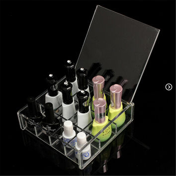 Clear Acrylic Nail Polish Makeup Organizer Storage Cosmetic Display