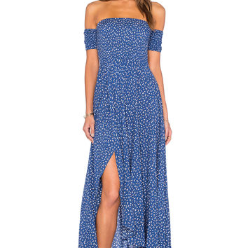 AUGUSTE Boheme Goddess Maxi Dress in Navy Tiny Floral