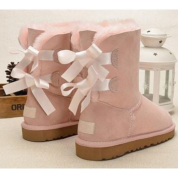 UGG Fashion Women Fur Bow Wool Snow Boots In Tube Boots Shoes