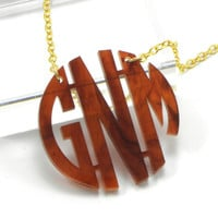 Tortoise Shell Monogram Necklace  Acrylic by BranandTabs on Etsy