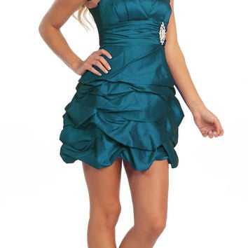 Teal Party Dress Satin Cocktail Gown Ruched Bubble Skirt Above Knee
