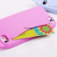 Cute Big Mouth Whale Rubber Card Holder Soft Case Cover for Apple iPhone 5 5S 5G