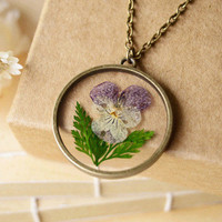 The new 2016 Pansy natural dry flower necklace restoring ancient ways GH-26 necklaces pendants fashionfor women