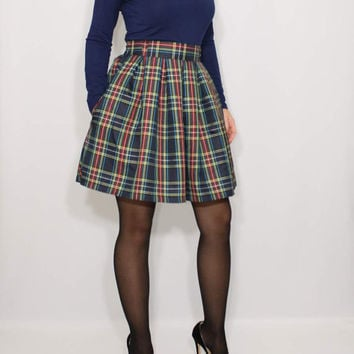 Navy Plaid skirt Pleated skirt High waisted skirt with pockets Short skirt