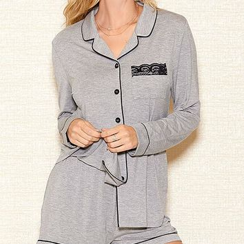Heather Gray Stretch Knit Short Pajama Set (Small-3X)