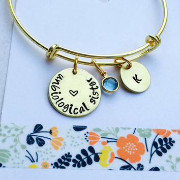 Unbiological Sister, Best Friend Bracelet, Best Friend Gift, Hand Stamped Bracelet, Personalized Bracelet, Gold Bangle