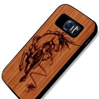 Unicorn on Drawing on Wood of Art Samsung S4 S5 S6 Case (samsung s6 black)